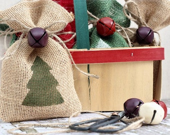 Burlap Gift Bags, Christmas Tree, Shabby Chic Christmas Wrapping, Green and Natural, Jingle Bell Tie On, Set of Two