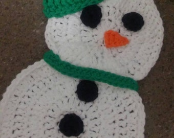 Snowman Hotpad, Crochet Snowman Hotpad, Snowman Trivet, Crochet Trivet, Crochet Hotpad, Christmas Hotpad, Christmas Trivet,