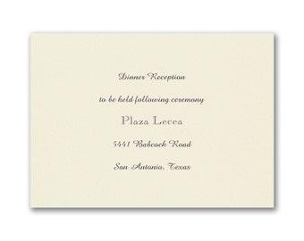 Ecru Wedding Reception Cards, Smooth Ecru Cards, Thermography Printed