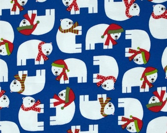 Robert Kaufman Jingle Christmas Flannel Blue Winter Polar Bears. Quality 100% brushed Cotton Fabric