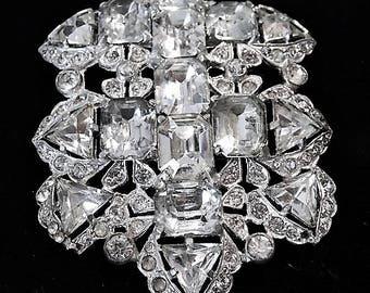 EISENBERG ORIGINAL Fur Clip 1930s 30s Art Deco Swarovski Crystal Fancy Cut Old Hollywood Glam Wedding Bride Bridal Dress Clip Prom Fashion