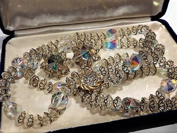 Mid Century 1950s Swarovski AB Rivoli Crystal Rhinestone Double Strand Necklace Clip On Earrings Demi Parure Wedding Bride Bridal Fashion
