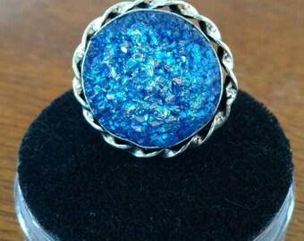 Blue Druzy Ring Size 6