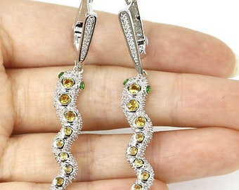 CLEARANCE* Citrine and Green Quartz Crystal Snake Earrings