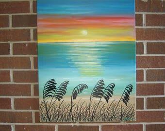 Abstract Seascape Sea Oats Ocean Sunset Beach Painting Colorful Painting Original Seascape Beach Decor Nautical Painting Beach Art
