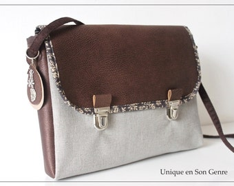 Brown leather satchel & Pearl Grey linen Unique creation of its kind