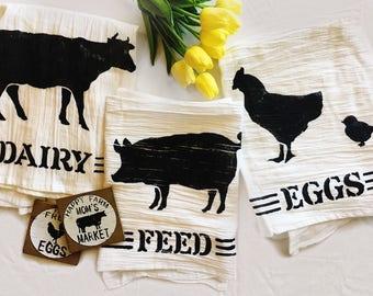 Feed tea towel, Farmhouse tea towel, farmhouse dish towel, country linens