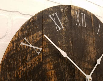 """Large Wall Clock, Black and Tan 18"""" wall clock. Made from rough cut finished to look like barnwood or reclaimed wood."""