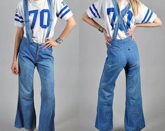 1970s Levis Bellbottom Jeans Overalls Denim Rare High waist Bells