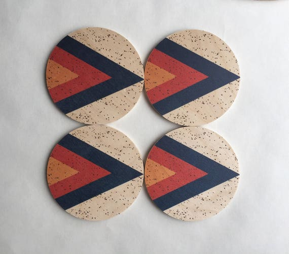 ARROW set of 4 wood coasters