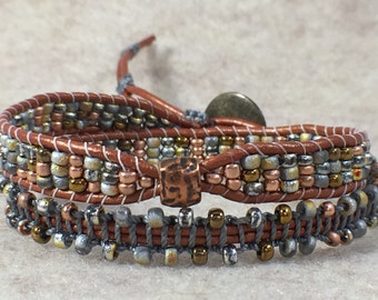 Mixed Metals Double Wrap Beaded Bracelet
