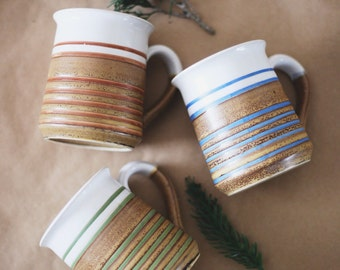 Colorful glazed coffee mugs