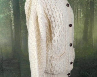 Vintage English Aran Cable Knit Wool Cardigan  Size M