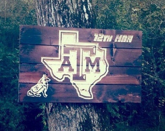 Carved Texas A&M 12th Man and Reveille Pallet Sign, Aggie art, College graduation gift, Alumni gift, College acceptance gift