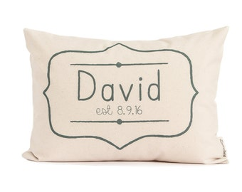 Birth Announcement Pillow, New Baby Gift, Kids Birthday Gift, First Birthday, Personalized Pillow, Pillow with Name, New Parents