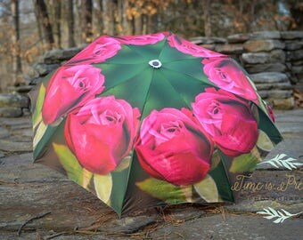 "Custom Designed Umbrella Pink & Green Rose Photography Print,41"" span,MANUAL Lightweight Umbrella,Flower Print,Rose Photography"