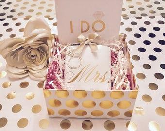 Handmade Bridal Engagement Flask Gift Box & Card