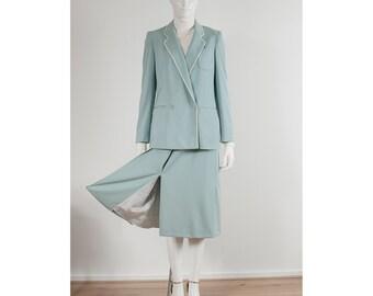 vintage Etienne Aigner ice blue luzery wrap skirt & jacket 2pc suit