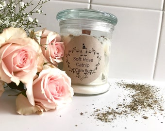 Soft Rose Catnip Candle