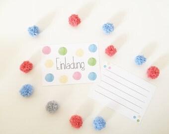 Invitation - watercolor - dots - dots - children's birthday - invitation card
