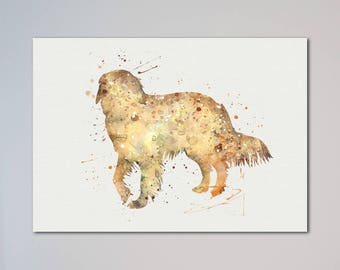 Dog Golden Retriever Poster Animal Art Print Pet Portrait Illustration Wall Decor Watercolor