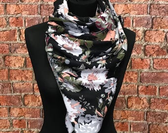 Cotton Spring scarf Big Flowers print/ Black white and green  - multicolour scarf