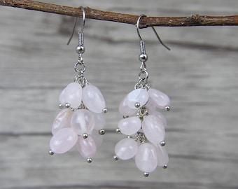 rose quartz beads Earrings Gemstone Earrings Pink Beads Earrings Quartz Earrings Drop Earrings Boho Earrings Beads Earrings ED-038
