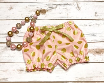 Pink and Gold Polka Dot Bloomers - 1st Birthday outfit Girl - 2nd Birthday outfit Girl - Cake Smash girl - Pink and Gold Girl outfit