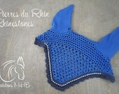 Blue and Grey Horse Fly Bonnet with Rhinestone Trim, Size Full