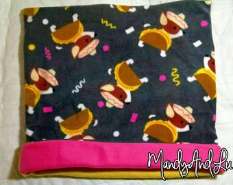 GIANT 2FTx2FT Taco Dogs/Grey/Pink/Yellow - Fleece Snuggle Bag/Cuddle Sack / Sleeping Bag - For Chihuahuas / Small Dogs / Cats