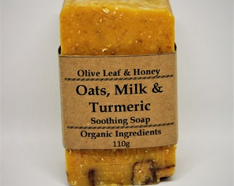 Natural Organic Soap, Oat Soap, Goat Milk Soap, Turmeric  Powder, Orange, Geranium, Essential Oil, Olive Oil, Honey, Handmade, Rustic