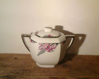 french vintage porcelain sugar bowl art deco /porcelaine /Sucrier / Limoges/France/Jean Boyer / 1920.