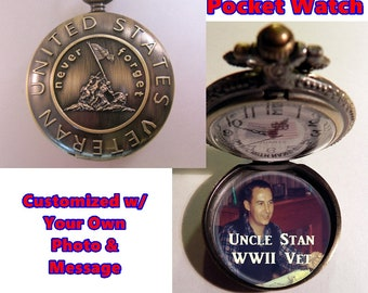 """US VETERAN Pocket Watch Personalized Photo & Message w/31"""" Chain OR 14"""" Belt Chain Vintage Style"""