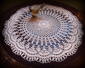 """Large Ecru/Natural Crochet Doily with Beautiful Fan Edging--18-1/2"""" Table Topper--New Handmade--Free Shipping!"""