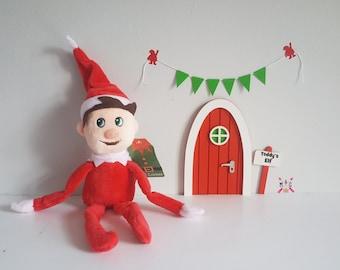 Christmas elf door with personalised signpost + plush elf + miniature bunting and optional elf report cards - fairy door - elf set magic