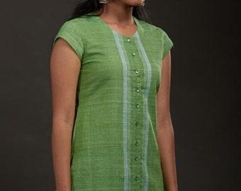 Lime Green Khadi Kurta
