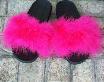 Pink Fur slides - Furry Slides - Custom Slip Ons - custom slides - Celebrity fur slides - Rihanna Slides - pink furry - fuzzy sandals