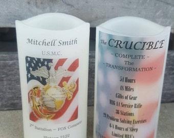 United States Marine Corps Crucible Candle Have it Personalized Flag USMC Crucible Facts on Back Lantern