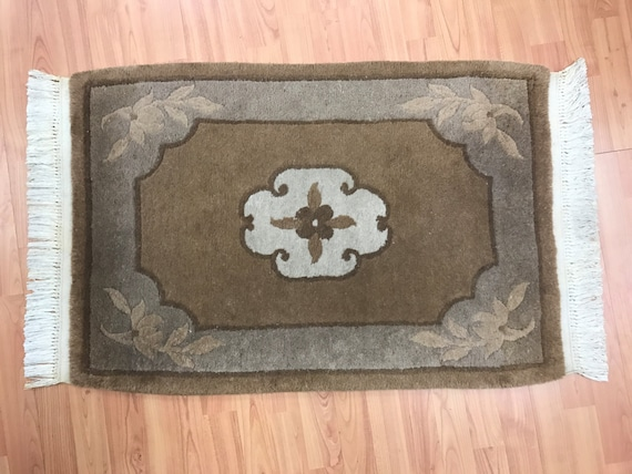 "2'1"" x 3'1"" Chinese Aubusson Oriental Rug - Full Pile - Hand Made - 100% Wool"