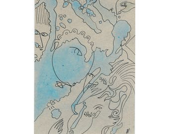 DIN A5 abstract painting - figurative drawing / art original