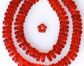 5mm Interlocking Flower Rondelle Glass Beads - Czech Glass Beads - Spacer Beads - Various Colors - Qty 100