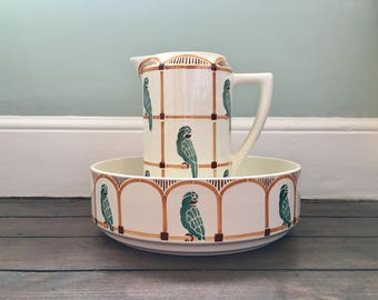 French Antique Ceramic Wash Bowl & Pitcher circa. 1905 Parakeet Design