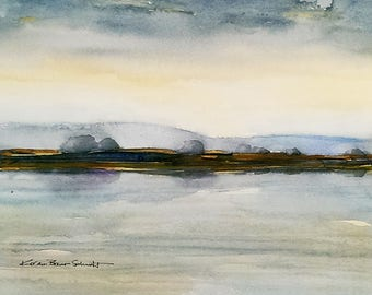 Marsh and Bay original watercolor painting, 11x14 matted, original seascape art, contemporary coastline beach scene