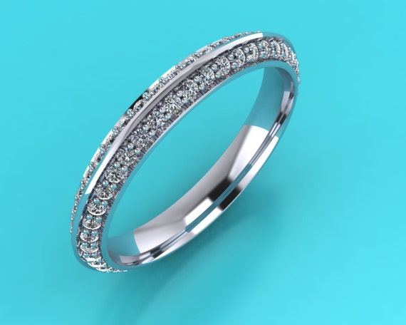 Platinum Full Double Row Pave Knife Edge Wedding Band Eternity