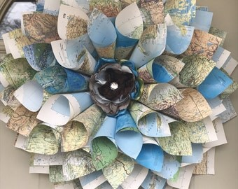 World Atlas Book Page Cone Wreath, Home Decor, Wall Hanging, Handmade Paper Wreath, Wedding Decor