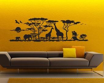 African Safari wall decal vinyl sticker Jungle Zoo Africa Animals wall art mural WD007