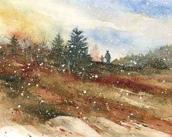 Christmas card, watercolor