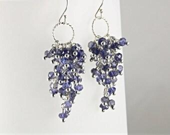 AAA Iolite Cluster Earrings, Violet Iolite Waterfall Earrings, Cluster Sterling Silver Earrings, Waterfall Earrings