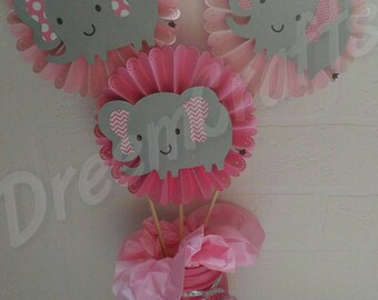 3 Piece Elephant Centerpiece. Elephant Baby Shower. Elephant Birthday. ALL colors available!