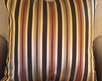 """Brown Tan Gold Olive Green Rust Orange Stripe Decorative Pillow Cover Throw Pillow 20"""""""